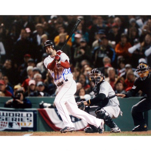 """Florida Marlins Mike Lowell 2007 World Series Home Swing Signed 16"""" x 20"""" Photo"""