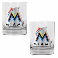 Florida Marlins MLB 2-Piece 14 Oz. Rocks Glass Set