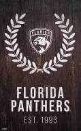 """Florida Panthers 11"""" x 19"""" Laurel Wreath Sign"""