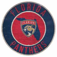 """Florida Panthers 12"""" Circle with State Sign"""