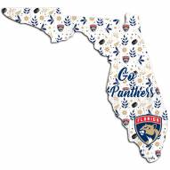 """Florida Panthers 12"""" Floral State Sign"""