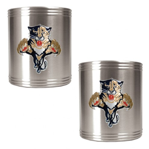 Florida Panthers 2-Piece Stainless Steel Can Koozie Set - Primary Logo