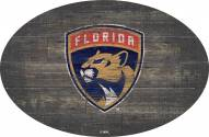 """Florida Panthers 46"""" Distressed Wood Oval Sign"""
