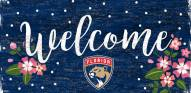 """Florida Panthers 6"""" x 12"""" Floral Welcome Sign"""