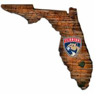 Florida Panthers Distressed State with Logo Sign