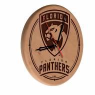 Florida Panthers Laser Engraved Wood Clock