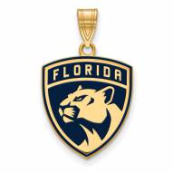 Florida Panthers Sterling Silver Gold Plated Large Enameled Pendant