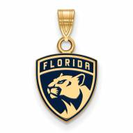 Florida Panthers Sterling Silver Gold Plated Small Enameled Pendant