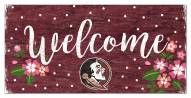 """Florida State Seminoles 6"""" x 12"""" Floral Welcome Sign"""