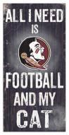 "Florida State Seminoles 6"" x 12"" Football & My Cat Sign"