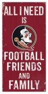 """Florida State Seminoles 6"""" x 12"""" Friends & Family Sign"""