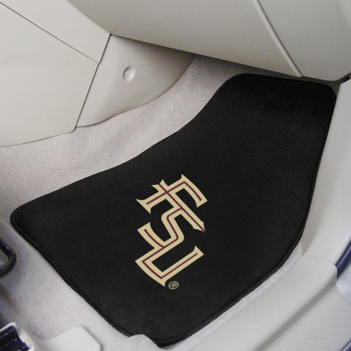 Florida State Seminoles Black 2-Piece Carpet Car Mats