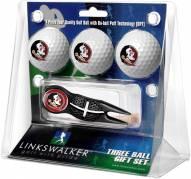 Florida State Seminoles Black Crosshair Divot Tool & 3 Golf Ball Gift Pack