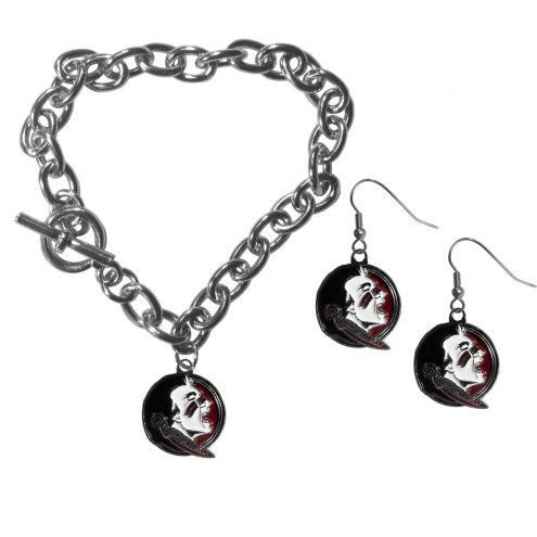 Florida State Seminoles Chain Bracelet & Dangle Earring Set