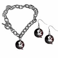 Florida State Seminoles Chain Bracelet & Dangle Earring Set