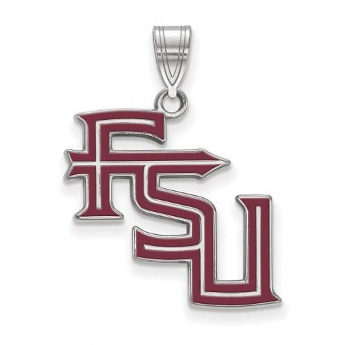 Florida State Seminoles Sterling Silver Large Enameled Pendant