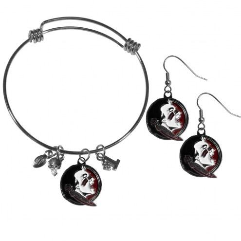 Florida State Seminoles Dangle Earrings & Charm Bangle Bracelet Set