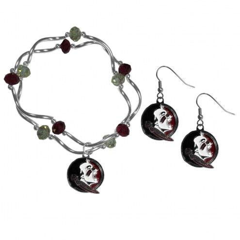 Florida State Seminoles Dangle Earrings & Crystal Bead Bracelet Set