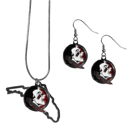 Florida State Seminoles Dangle Earrings & State Necklace Set