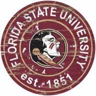 Florida State Seminoles Distressed Round Sign