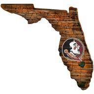 Florida State Seminoles Distressed State with Logo Sign
