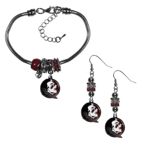 Florida State Seminoles Euro Bead Earrings & Bracelet Set