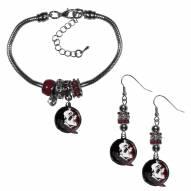 Florida State Seminoles Euro Bead Earrings & Bracelet Set