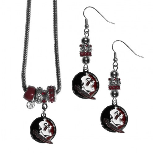 Florida State Seminoles Euro Bead Earrings & Necklace Set