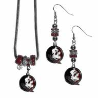 Florida State Seminoles Euro Bead Earrings & Necklace Set