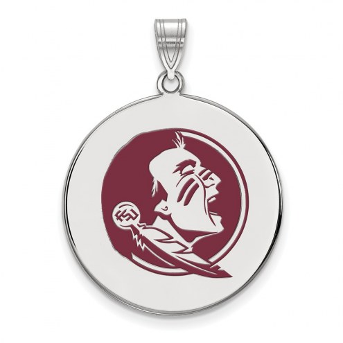 Florida State Seminoles Sterling Silver Extra Large Enameled Disc Pendant