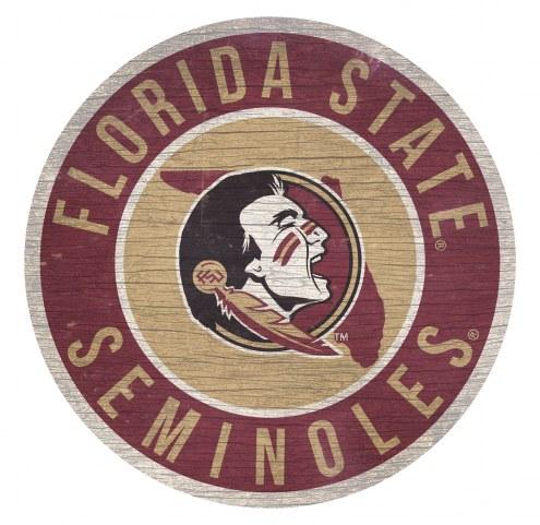 Florida State Seminoles Round State Wood Sign