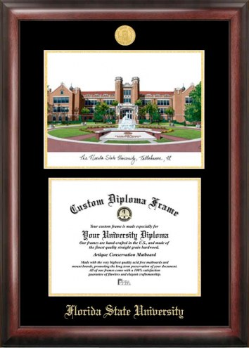 Florida State Seminoles Gold Embossed Diploma Frame with Lithograph
