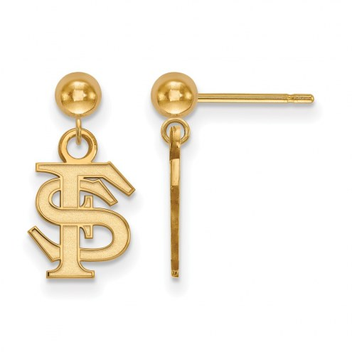 Florida State Seminoles Sterling Silver Gold Plated Dangle Ball Earrings