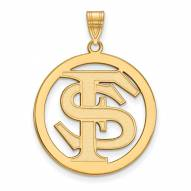 Florida State Seminoles Sterling Silver Gold Plated Large Circle Pendant