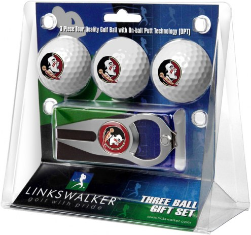 Florida State Seminoles Golf Ball Gift Pack with Hat Trick Divot Tool