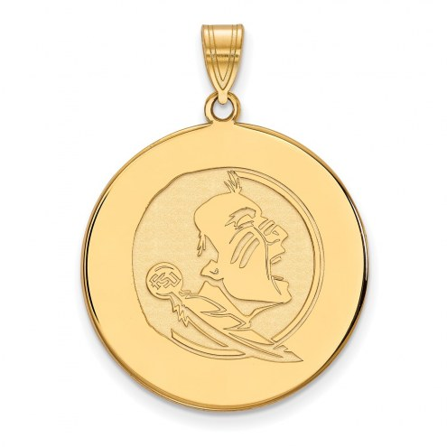 Florida State Seminoles Sterling Silver Gold Plated Extra Large Disc Pendant