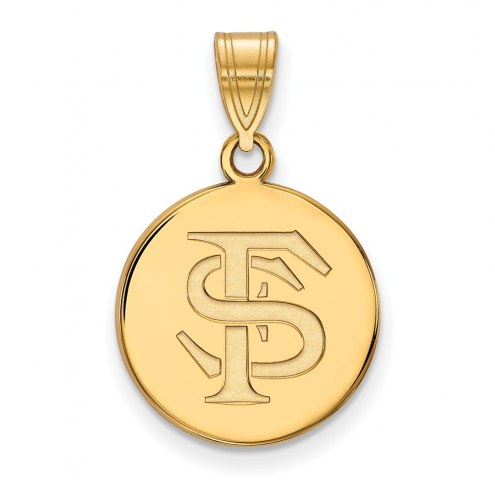 Florida State Seminoles Sterling Silver Gold Plated Medium Disc Pendant
