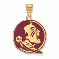 Florida State Seminoles Sterling Silver Gold Plated Large Enameled Pendant