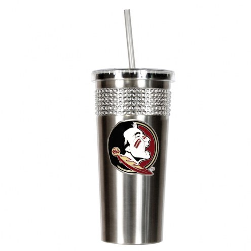 Florida State Seminoles Stainless Steel Bling Tumbler with Straw