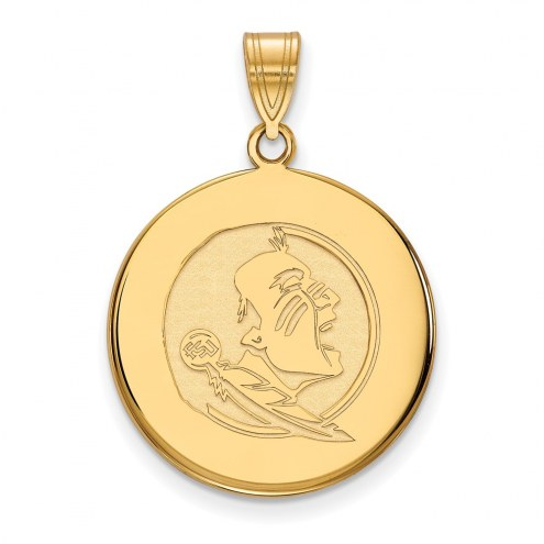 Florida State Seminoles Sterling Silver Gold Plated Large Disc Pendant