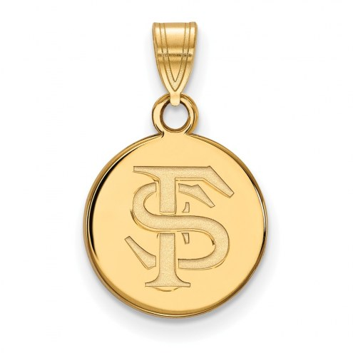 Florida State Seminoles Sterling Silver Gold Plated Small Disc Pendant