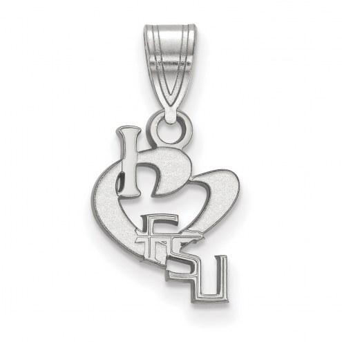 Florida State Seminoles Sterling Silver Small I Love Logo Pendant