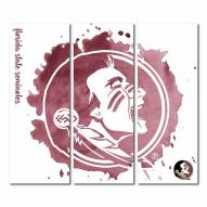 Florida State Seminoles Triptych Watercolor Canvas Wall Art
