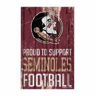 Florida State Seminoles Proud to Support Wood Sign