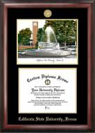 Fresno State Bulldogs Gold Embossed Diploma Frame with Campus Images Lithograph