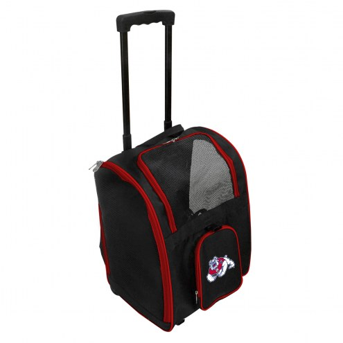 Fresno State Bulldogs Premium Pet Carrier with Wheels