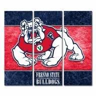 Fresno State Bulldogs Triptych Double Border Canvas Wall Art
