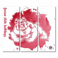 Fresno State Bulldogs Triptych Watercolor Canvas Wall Art