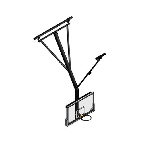 Gared Forward Fold / Front Braced Bent Post Ceiling Suspended Basketball Backstop