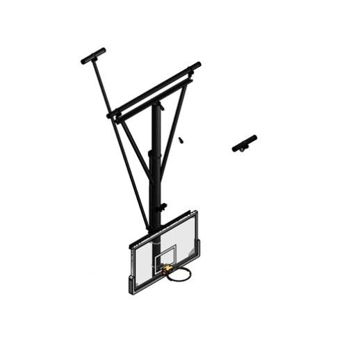 Gared Forward Fold / Rear Braced Ceiling Suspended Basketball Backstop